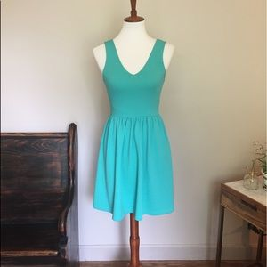 Everly Teal Dress With Bow and Low Back